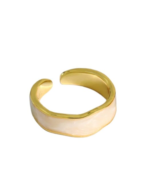 Golden [white gutta percha] 925 Sterling Silver Enamel Round Vintage Band Ring